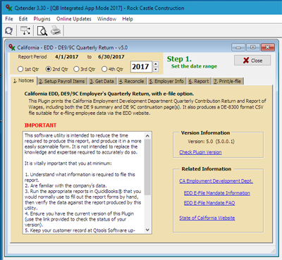 qxplugin user guide - ca edd de-9/9c quarterly report - usage